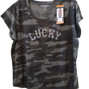 Lucky Brand Womens Gray Camo Tee Shirt XXL NWT